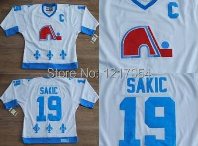 ... NHL JERSEY Quebec Nordiques Joe Sakic 19 Authentic White Throwback CCM  Heritage Hockey Jersey . d4ccd8b7f