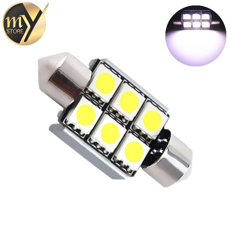 10pcs 36mm 6 SMD 5050 Pure White Dome Festoon CANBUS OBC Error Free Car 6 LED Light Lamp Bulb V10 12V c5w led car