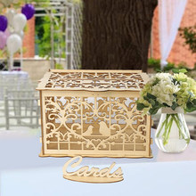 Wooden Wedding Box Money Creative with Lock Home Decoration Ornament Party Rustic