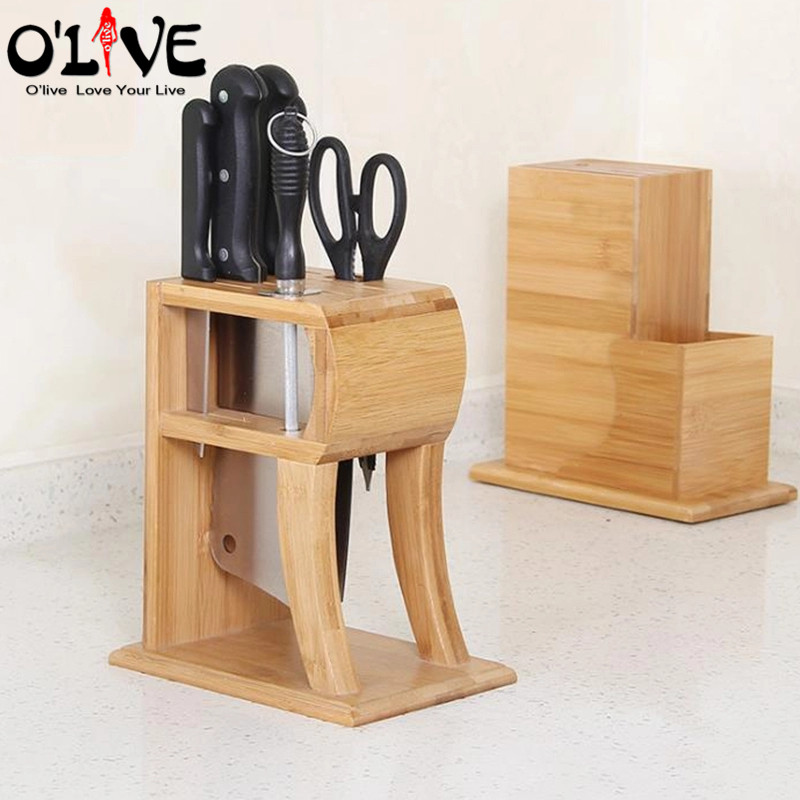 Knife Holder Stand Bamboo Wood Knife Block Helpers Kitchen Knives Support Storage Shelf Rack Organizer Kitchen Tools Dropship