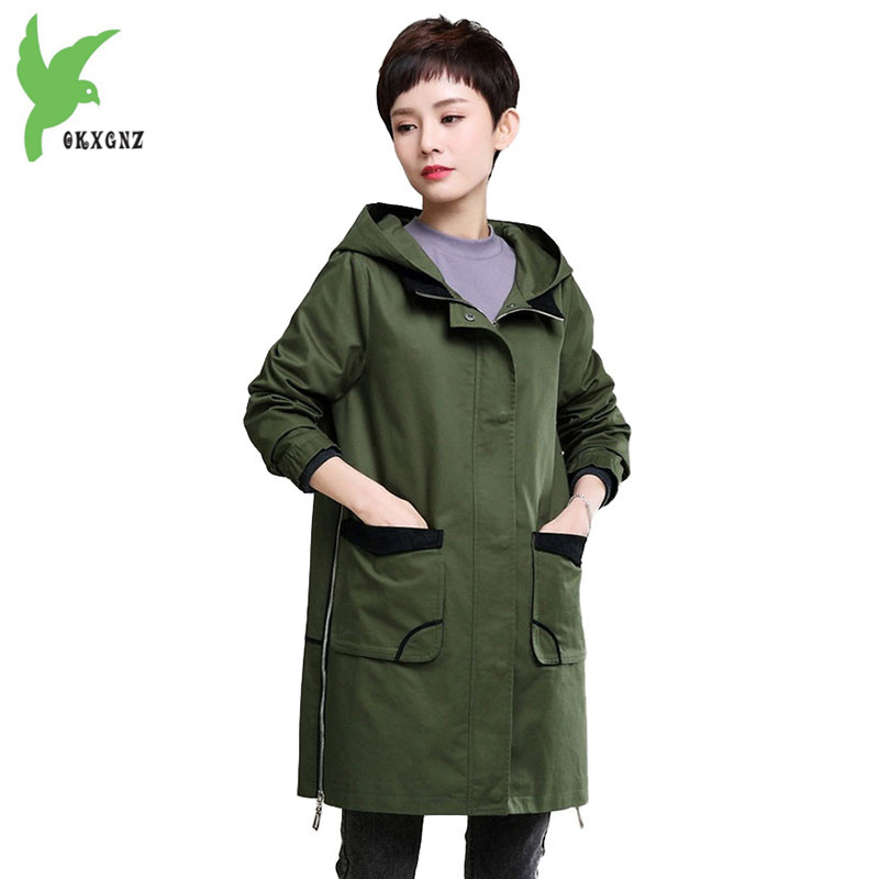 Trench   coat for Womens 2018 Spring Autumn Crop cotton Windbreaker Plus size Hoodies Loose Top Large size Female Coats OKXGNZ1954
