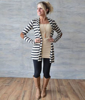 Autumn Classic Black White Color Stripes Cardigan Coat Women Fashion Maternity Clothes Cardigan Outerwear For Pregnant