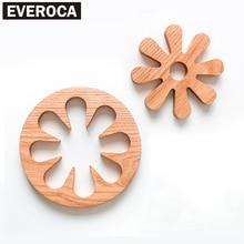 2 in 1 Holz Esstisch Tischsets Topf Tasse Matte Wärmedämmung Küche Zubehör Dekoration