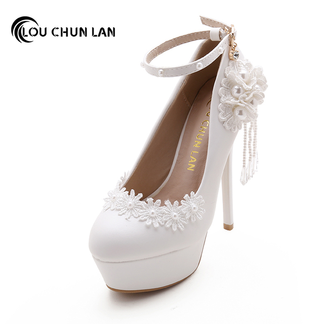 LOUCHUNLAN Shoes Womens Pumps Wedding White Flowers Tassel Beads Round Toe Ankle Strap Bride Drop Shipping