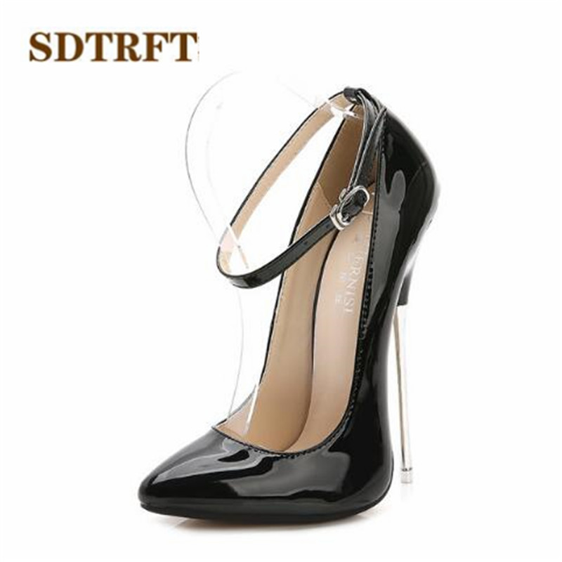 Hauts Talons 44 rouge Nouvelle Sdtrft Mujer Cm Plus Cosplay 16 35 Pompe Noir Chaussures Minces Femme Boucle De Automne Mode Métalliques Mariage Zapatos Printemps lavande 6O4qOA