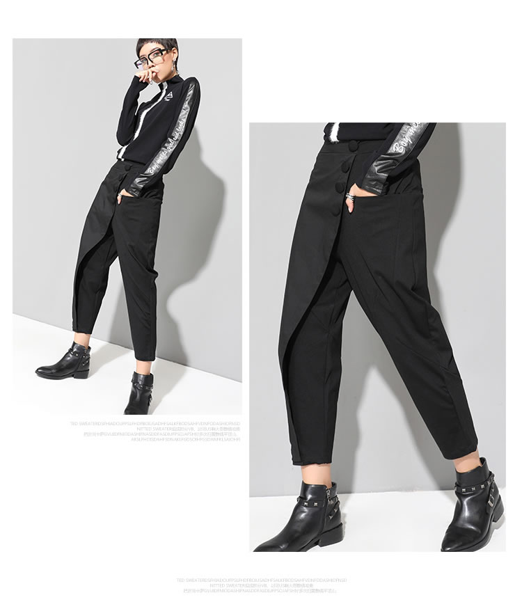 XITAO Black Tide Long Harem Pants Women Elastic Waist Button Fly Casual Modis Front Patchwork Female Trouser 2019 Autumn LJT3926 33