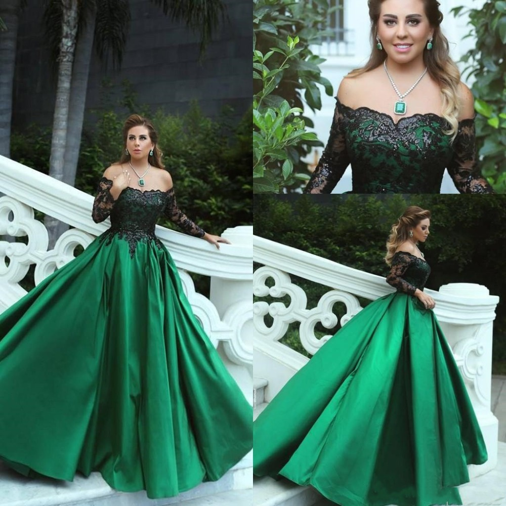 Emerald Green Black Lace Evening Dress Long 2019 Elegant Boat Neck Long Sleeve Formal Evening Gowns