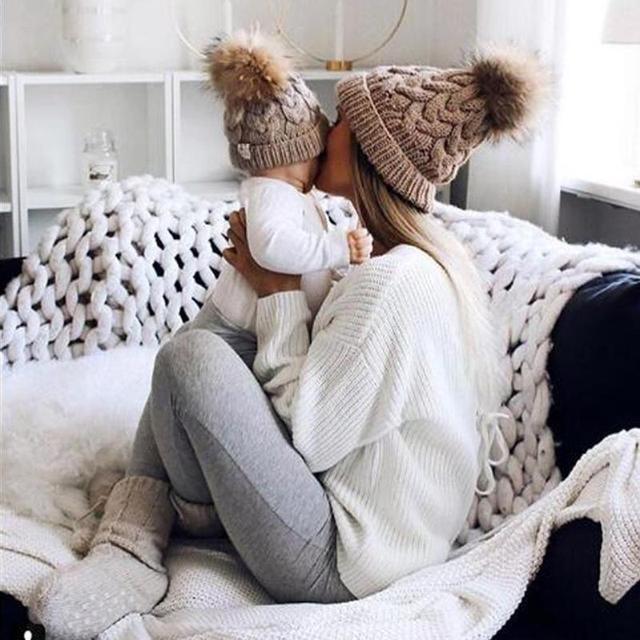 4efaec992a7 Baby Adult Winter Warm Knit Hat Family Matching Beanie Hairball Kids Cap  Autumn Winner Cute Newborn Toddler Kids Boy Girl hats