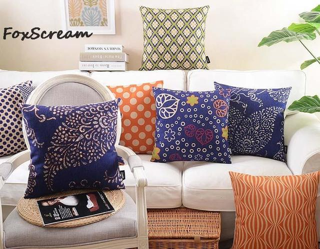 Geometric Decorative Throw Pillow Cases,Blue Orange Floral Cushion Cover  Home Decor,Chair Seat Couch Pillow Sham For Sofa