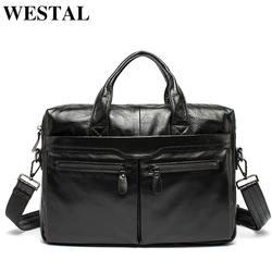 WESTAL Для мужчин Портфели натуральная кожа сумка Для мужчин кожаная сумка для ноутбука office Сумки Для мужчин сумки мужские Портфели