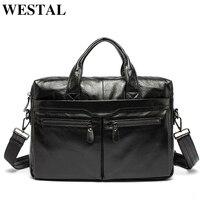 WESTAL Men Briefcase Genuine Leather Shoulder Bags Laptop Bag Leather Handbags Zipper Men S Bags Business