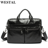 WESTAL Leather Laptop Briefcase Bag 14 Business Men Briefcase Totes Document/office Bags for Men Computer Bag Male Messenger Bag