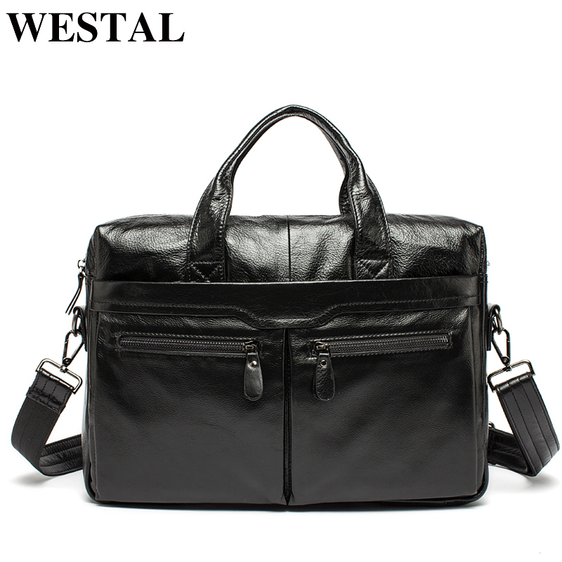 WESTAL Men Briefcases Men's Bags Genuine Leather Office Bags For Men Laptop Bag Briefcases Messenger Bag Men Leather Totes 9005