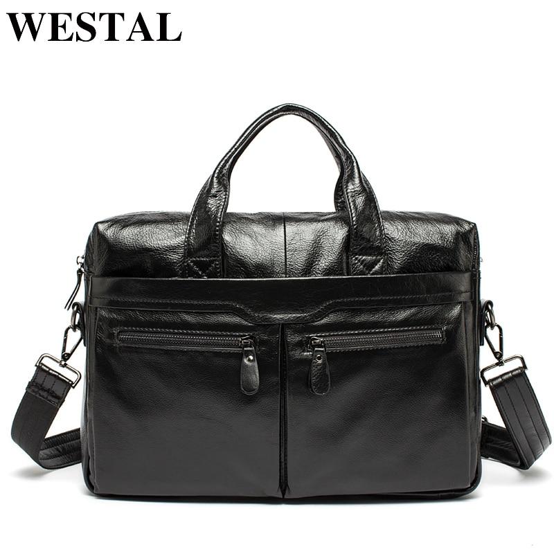 WESTAL Men Briefcases Men's Bags Genuine Leather Office Bags For Men Laptop Bag Briefcases Messenger Bag Men Leather Totes 9005