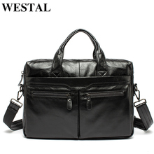 WESTAL Men Briefcases Mens Leather Bags Man Genuine Leather Laptop Bags Messenger Bag Men Leather Totes for Document A4   9005