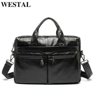 Image 1 - Westal 남자 서류 가방 남자 가방 정품 가죽 사무실 가방 남자 노트북 가방 가죽 서류 가방 남자 변호사/컴퓨터 가방 9005