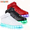 SAGUARO 2017 New Men Fashion Luminous Shoes High Top LED Lights USB Charging Colorful Shoes Unisex Lovers Casual Flash Shoes