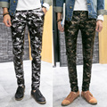 Teenagers Elastic Tight Militaire Camouflage Pants Mens Fashion Leggings Mens Leather Trousers PU Faux Leather Military Pants