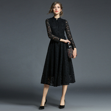 ARiby Spring 2019 new Women Dress Fashion Vintage Lace Elegant A-Line Solid Stand Full Sleeve Casual Mid-Calf Party