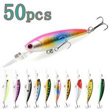wholesale 50pcs Long tongue Minnows Fishing lures Hard Baits 9cm 7g