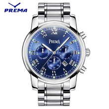 PREMA Top Luxury Brand Men Sports Watch Men's Quartz Day Date Clock Fashion Luminous Stainless Steel Strap Blue Male Wrist Watch