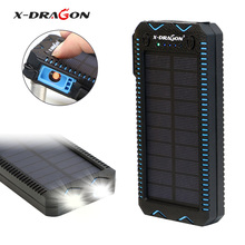 X-DRAGON Portable Solar Phone Chargers 15000mAh Solar Power Bank Charge for iPhone iPad Samsung Sony LG HTC Huawei Xiaomi etc.