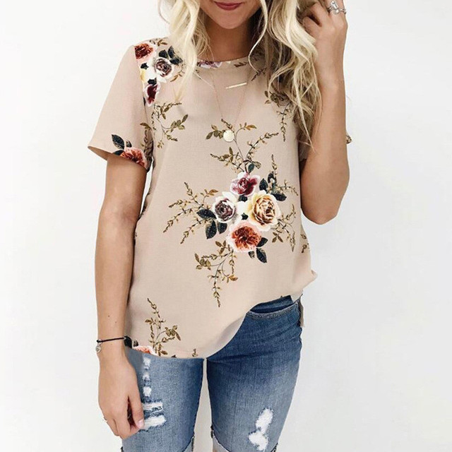 13b2c039b Plus Size Ladies Sexy Casual Floral Printing Short Sleeve Tops Soft Female  O Neck Blouse Women Summer Simple Flower Shirt-in Blouses & Shirts from  Women's ...