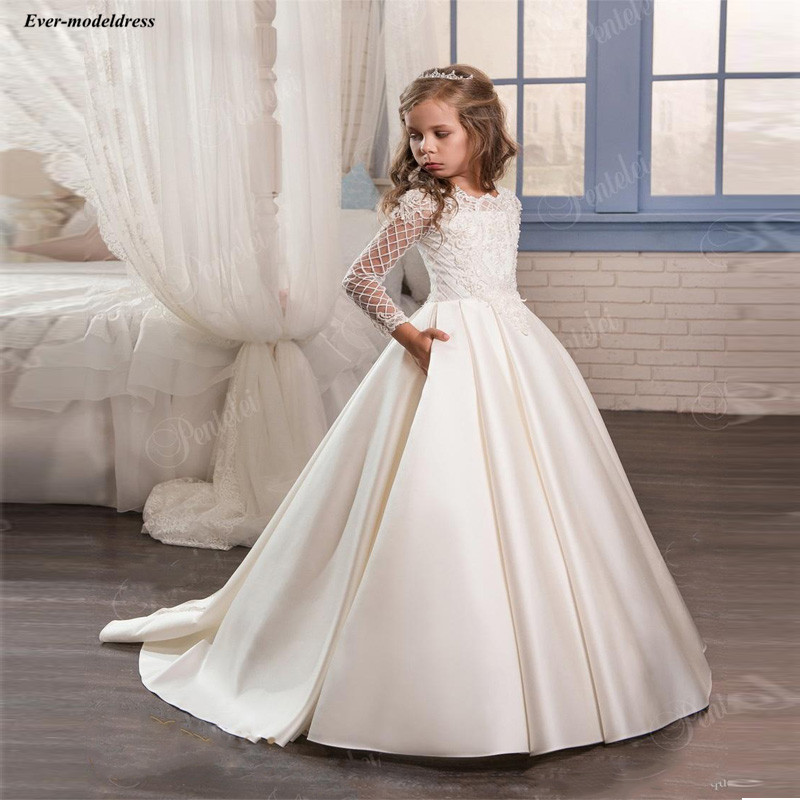 2019   Flower     Girl     Dresses   For Wedding Pocket Long Sleeve Ball Gown O-Neck Applique Sweep Train Pageant Wedding Party Gowns