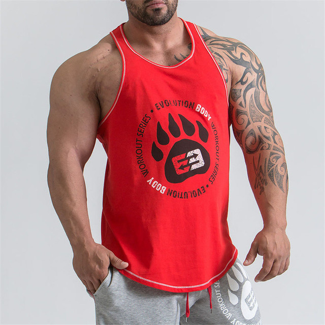 Men New Bodybuilding Vest Gyms Fitness Cotton Tank Top 2018 Men's New Brand Tanka Printing Palm Top Leisure Sweater Men Tank Top