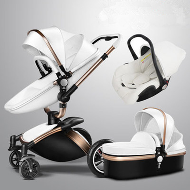 Baby stroller 3 in 1 eco-leather authentic aulon strollers widen the sleeping basket simple baby car seat Russia free shipping