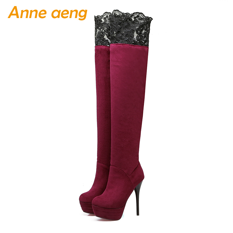 Women winter snow boots platform shoes over the Knee high thin heels round toe sexy ladies Red women winter shoes big size 33-46 enmayer sexy red shoes woman high heels bowties charms size 34 47 zippers round toe winter over the knee boots platform shoes page 1
