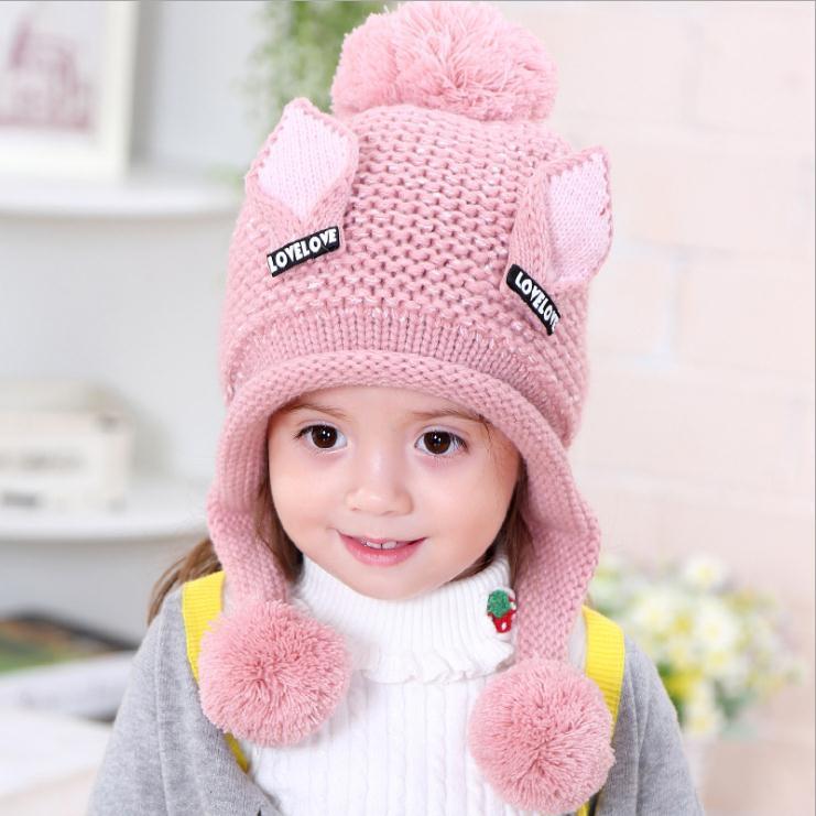 Doitbest/бархатные шапки для мальчиков от 2 до 6 лет, шерстяные шапки с кошачьими ушками однотонная зимняя вязаная шапка для маленьких детей, детские шапки с ушками для девочек - Цвет: Розовый