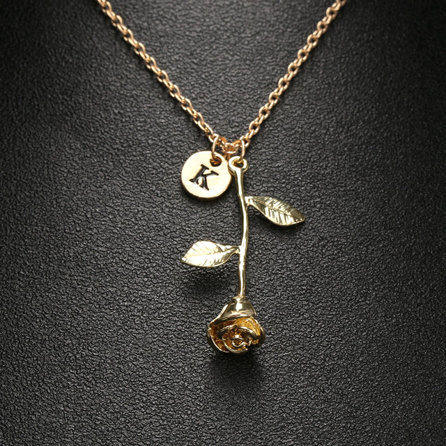 Charm Rose Flower Gold Color 26 Letter Pendent Choker Necklace
