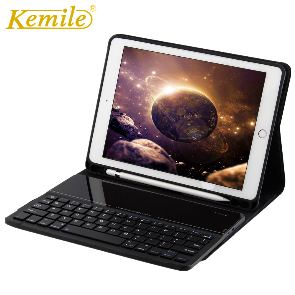 Case For iPad 2017 2018 9.7 Kemile Removeable Wireless Bluetooth 3.0 Keyboard W Pencil Holder Auto Sleep Wake Cover A1893 A1954