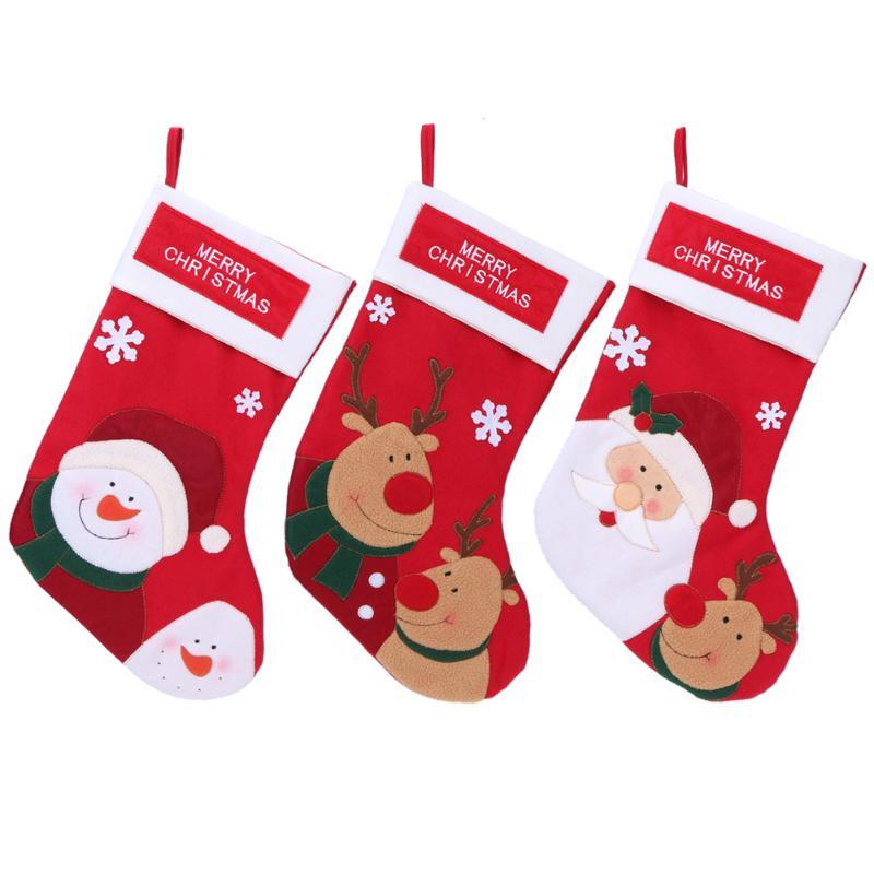 Christmas Stockings Plaid Santa Claus Candy Bag Christmas Decor ...