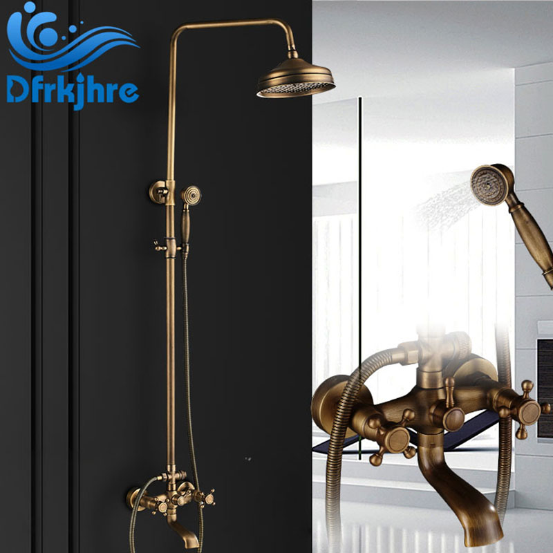 Bathroom Basin Faucet Antique Brass Wall Mounted Shower Faucet 8 Round Rainfall Shower Head Dual Handles Bathtub Mixer Faucets