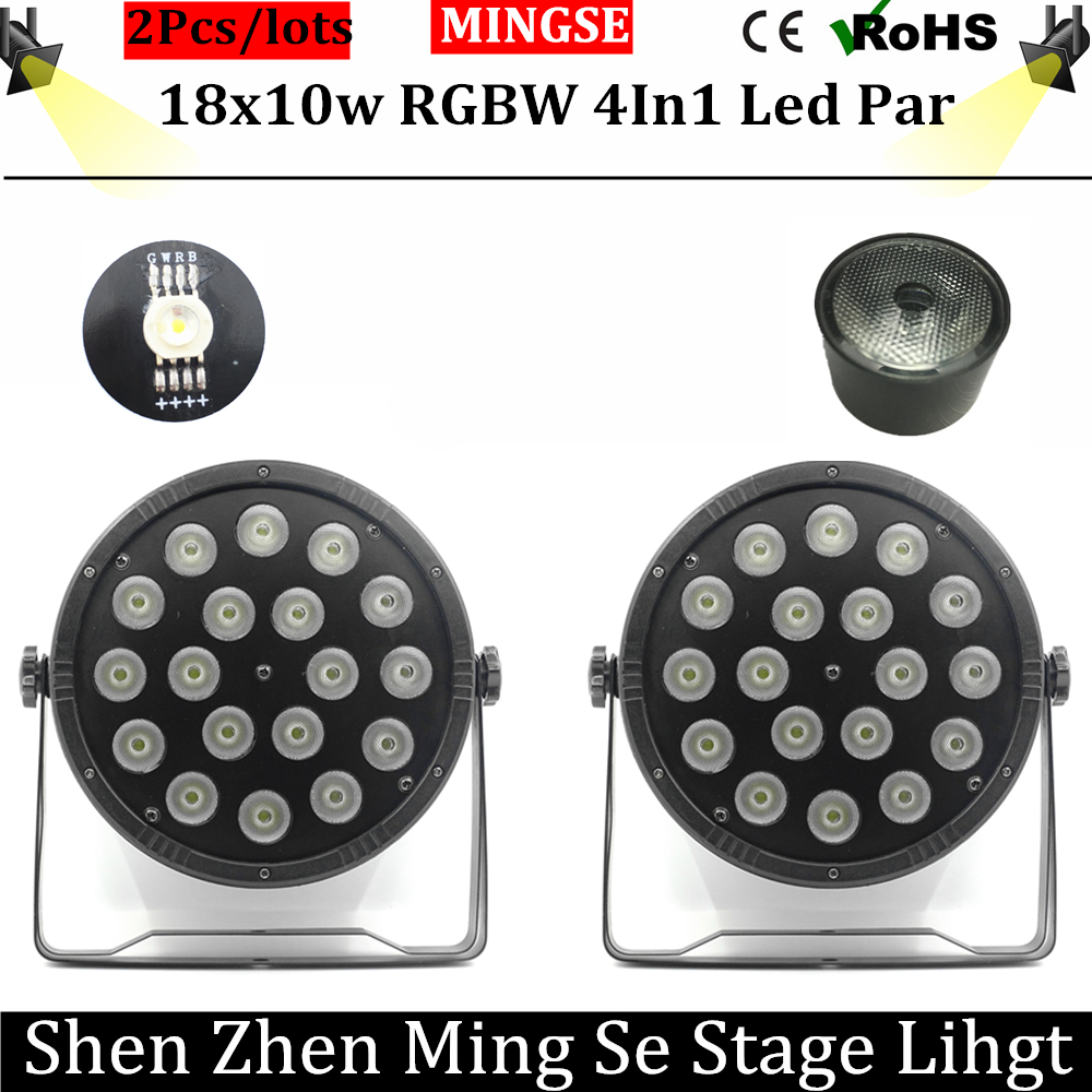 2pcs/lots 18x10W Flat LED Par Lights, 18*10w RGBW 4IN1 PAR DMX512 control disco lights professional stage DJ equipment fast russia shipping 7x12w led par lights rgbw 4in1 flat par led dmx512 disco lights professional stage dj equipment