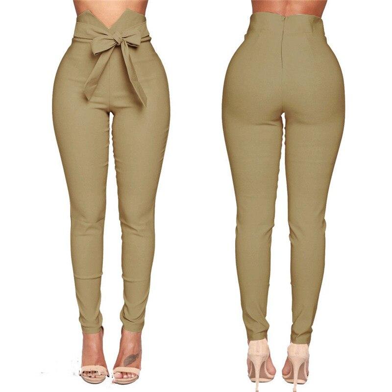 CHRLEISURE Sexy Bow Lace Up Pants Women Pantalon Femme High Waist Slim Ladies Pants Solid Elasticity Casual Pants