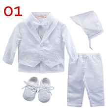 Gooulfi Christening Baby Boy Clothes Baptism White Newborn Baby Boy Clothes Baby Infant Clothing Newborn Clothes Set Clothes cheap NYLON Polyester COTTON Fashion Turn-down Collar Sets Single Breasted Full REGULAR Fits true to size take your normal size