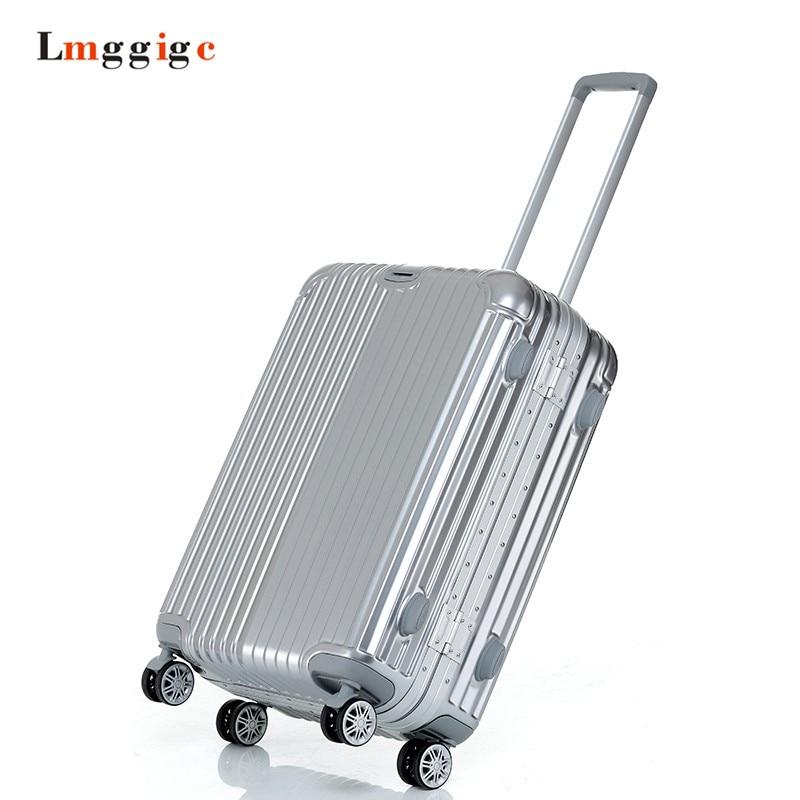 Aluminum frame PC Shell font b Luggage b font Mute universal wheel Suitcase Light font b