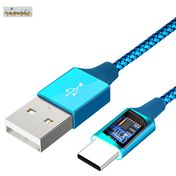 Data Cable USB Applicable to Apple TYPE-C Phone Charging Cable MICRO Nylon Braided Line Fast Charge 2A