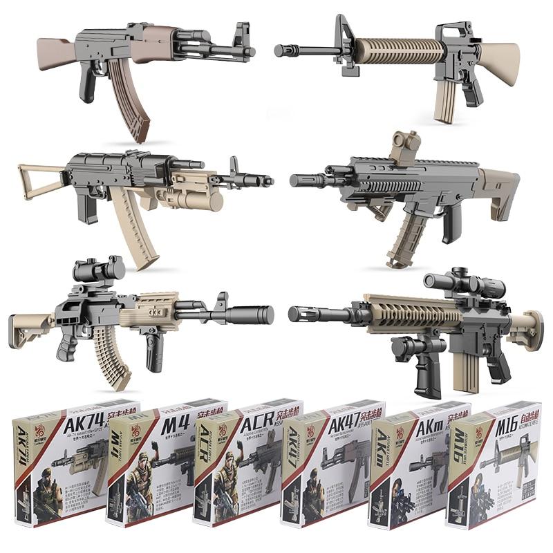 6pcs/set 1:6 Gun Model AK47 AK74 AKM ARC M4 M16 Plastic Painting Assemble Military Model Simulation Weapons For Action Figure