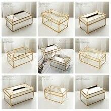 Золотая металлическая зеркальная коробка для салфеток, Элегантная стеклянная коробка для хранения салфеток, держатель для салфеток, настольная коробка для хранения украшений для дома