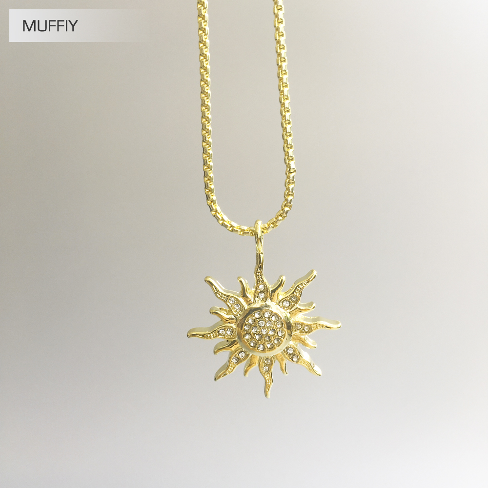 pendant necklace starburst sun basikglam products golden