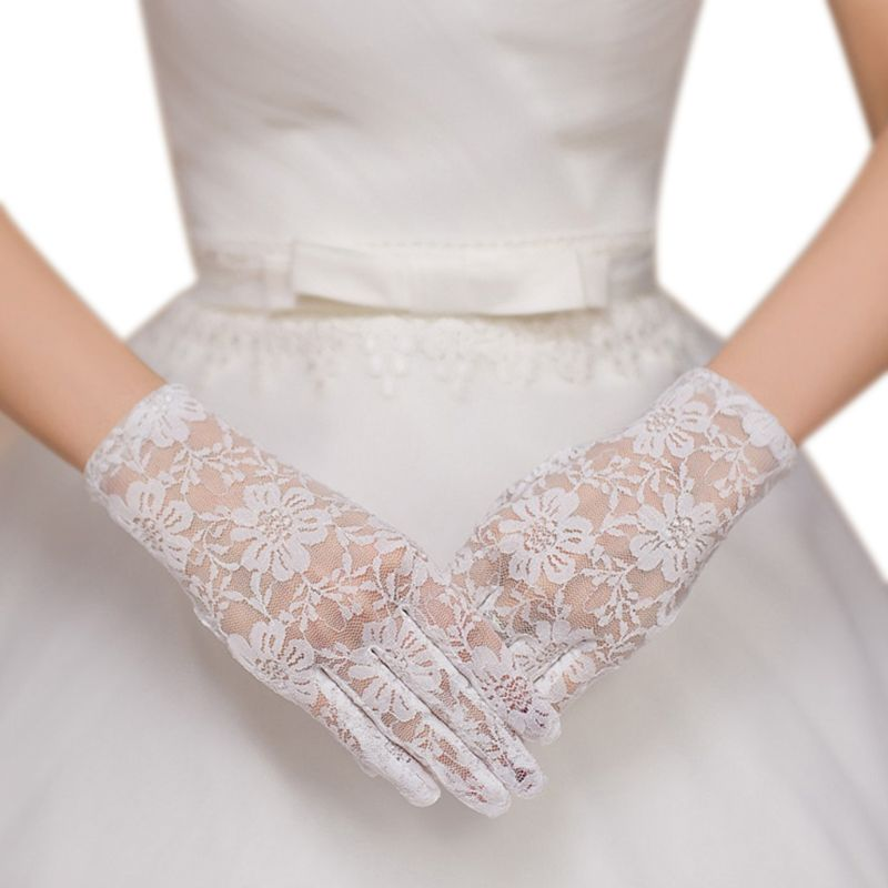 Womens Floral Lace White Short Gloves Full Fingered Wrist Length See Through Mittens Vintage Crocheted