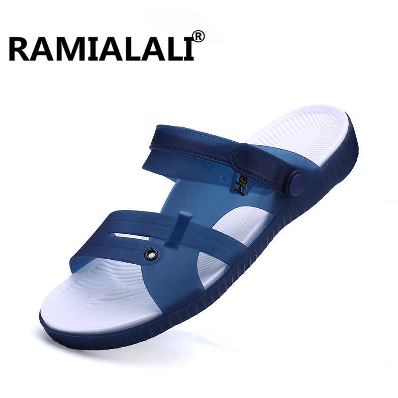 c7fa9d6745b184 Ramialali Summer Slippers Men Casual Leisure Soft Slides Eva Massage Beach  Slippers 2018 Water Shoes Men s