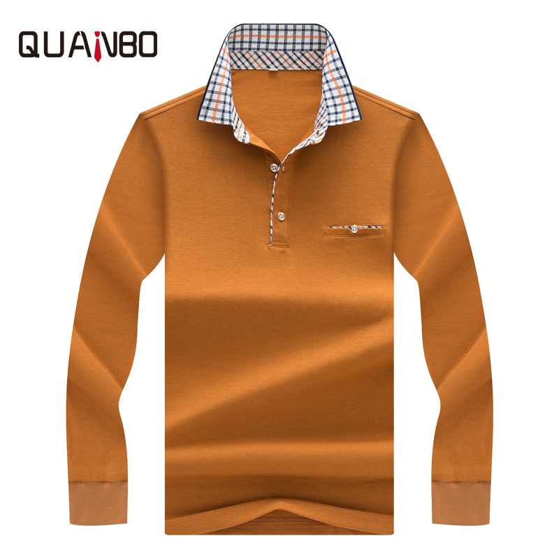 QUANBO Brand Clothing 2018 New Autumn Winter Men's Long Sleeve   Polo   Shirt Casual Plaid Small lapel Solid Business   Polo   Shirts