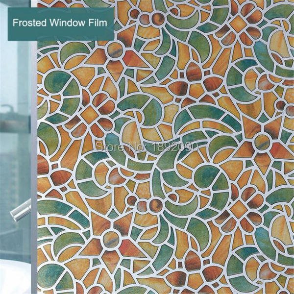 60*200cm Customized Opaque Self Adhesive Frosted Glass Window Film Privacy Window Sticker PVC Retro Toilet Living Room