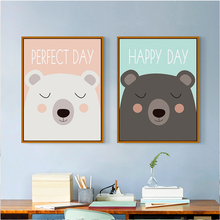 Two cute little children cartoon bear canvas painting art print poster picture home decoration bedroom BA017