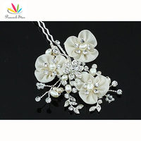 Bridal Wedding Party Quality Ivory Fabric Pearl Handmade Hair Clip CT1400